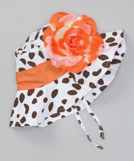 Orange & Brown Cheetah Flower Sunhat