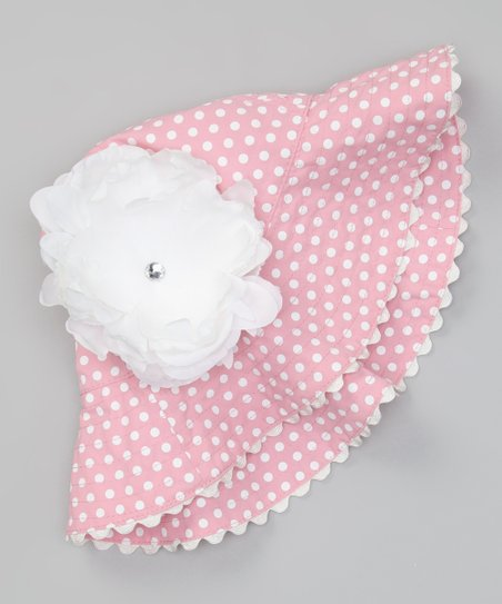 Pink & White Polka Dot Flower Sunhat