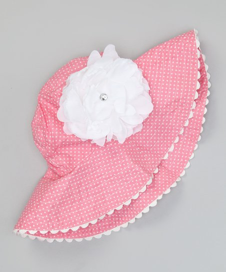Pink Swiss Dot Flower Sunhat