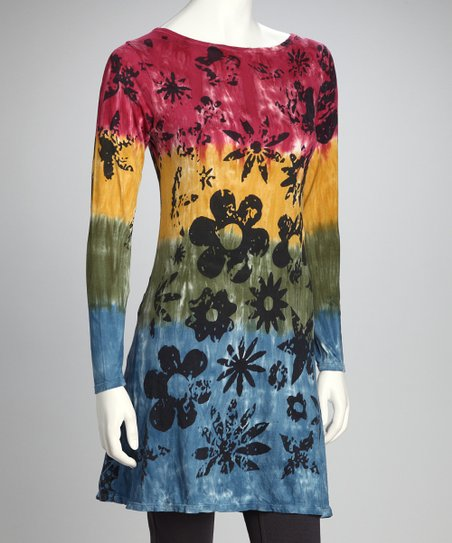 Red & Green Grunge Flower Organic Tunic - Women