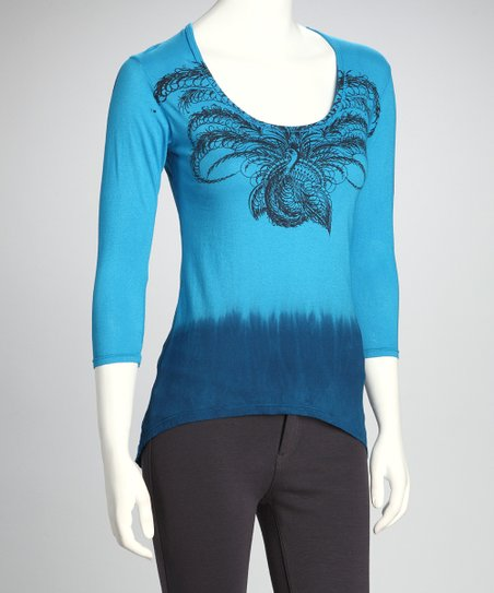 Turquoise & Royal Peacock Organic Hi-Low Tunic - Women