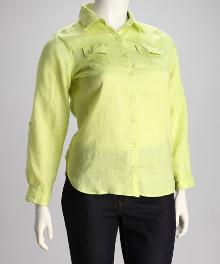 Lime Linen Plus-Size Button-Up