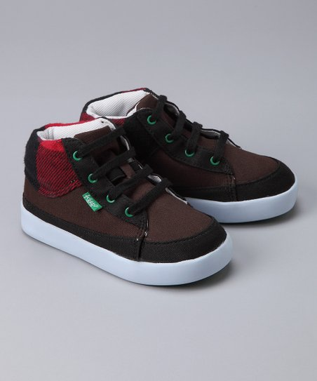 Brown & Red Checkerboard Guerra Hi-Top Sneaker