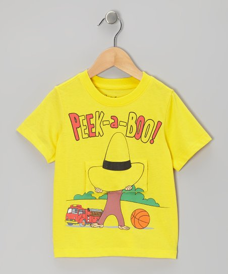 Yellow Curious George 'Peek-a-Boo' Tee - Toddler