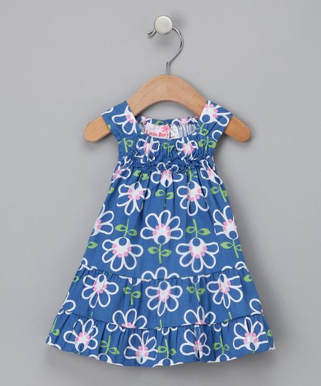 Blue Floral Tiered Dress - Girls