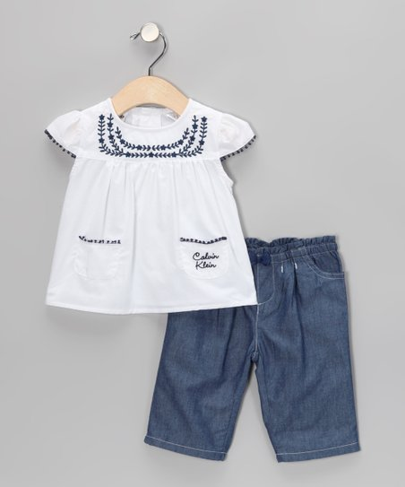 White Angel-Sleeve Top & Jeans - Infant