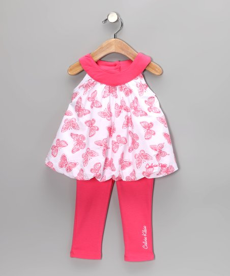 Coral Butterfly Bubble Tunic &amp; Leggings - Infant