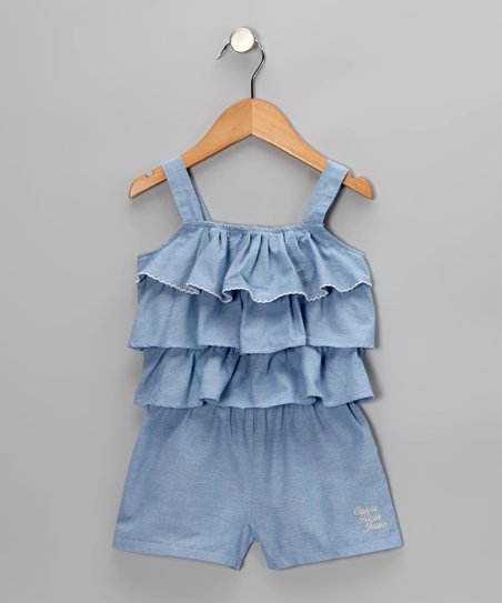 Chambray Tiered Ruffle Romper - Infant