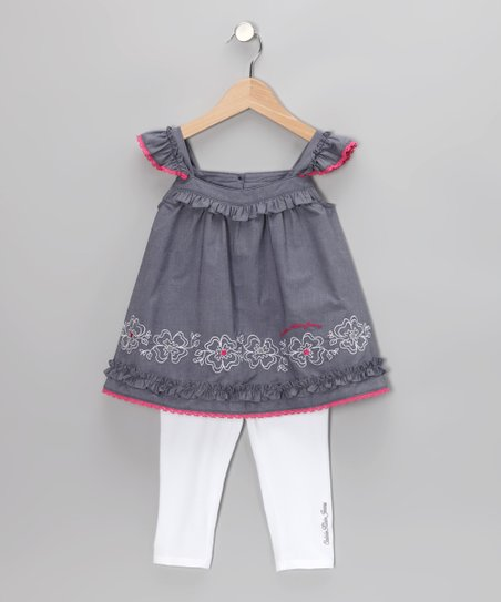 Denim Angel-Sleeve Tunic & Leggings - Infant