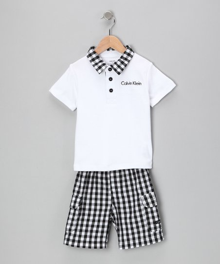 White Polo & Gingham Shorts