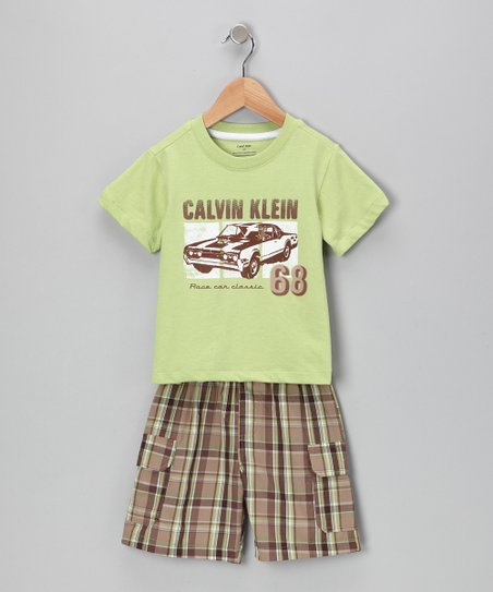 Lime '68' Car Tee & Plaid Shorts
