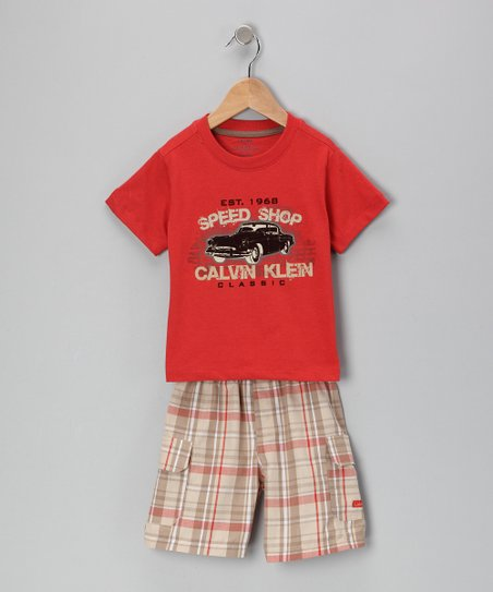 Red 'Speed Shop' Tee & Plaid Shorts