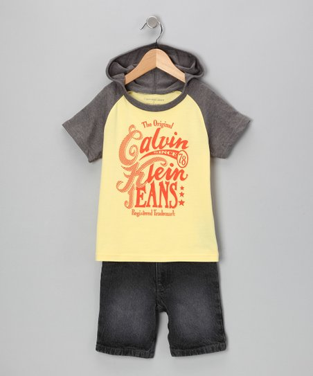 Yellow Raglan Tee & Black Shorts - Infant, Toddler & Boys