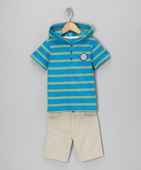 Blue Stripe Tee & Khaki Shorts - Toddler