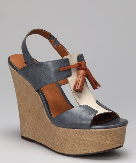 Dark Blue & Off-White Brynne T-Strap Slingback Wedge