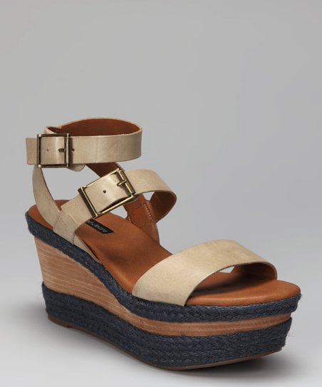 Light Taupe & Gray Leather Cailey Wedge