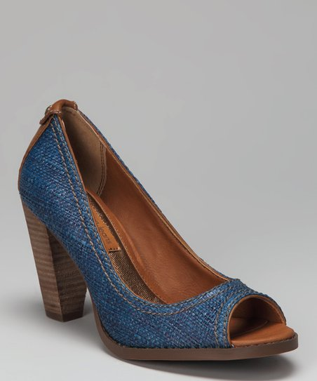 Blue Raffia Drina Open-Toe Pump