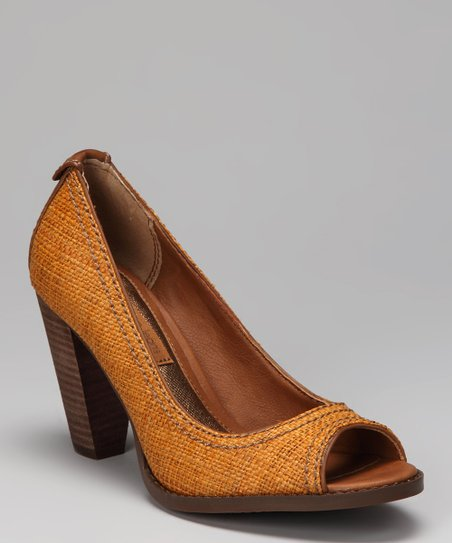 Honey Raffia Drina Peep-Toe Pump