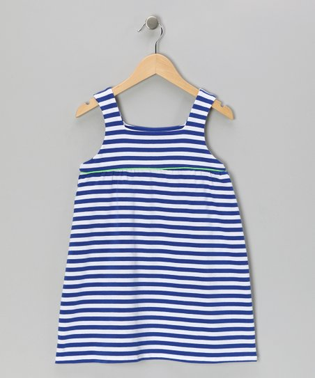 Blue Stripe Jersey-Knit Swing Dress - Toddler & Girls
