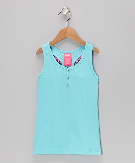 Light Blue Ruffle Tank - Girls