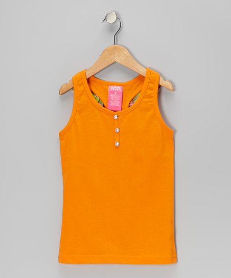 Orange Ruffle Tank - Girls