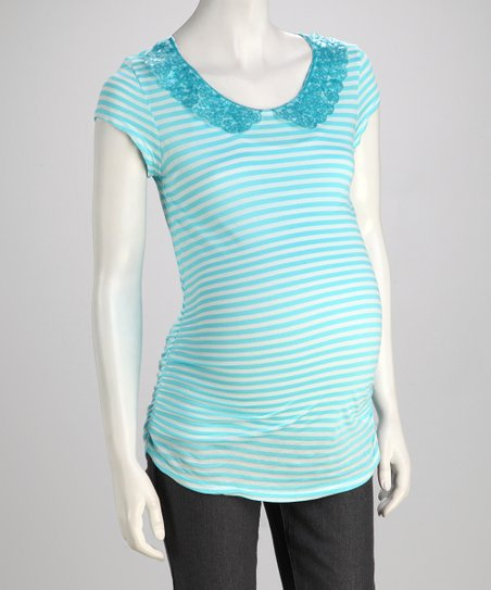 Aqua Peter Pan Collar Maternity Tee - Women