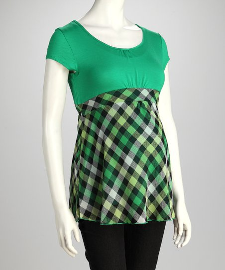 Green Gingham Maternity Babydoll Top
