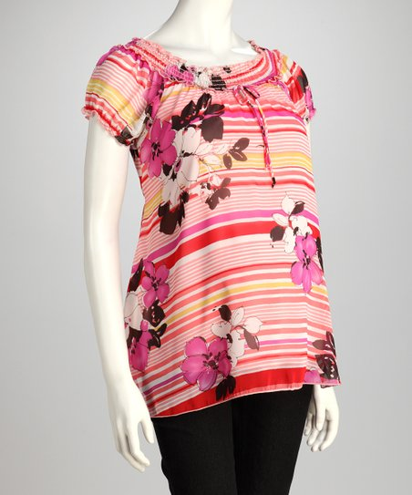 QT Pink Floral Stripe Maternity Off-Shoulder Top - Women