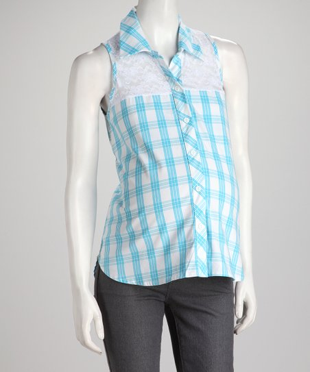QT Blue Plaid Sleeveless Maternity Button-Up