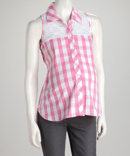 Pink Plaid Sleeveless Maternity Button-Up Top