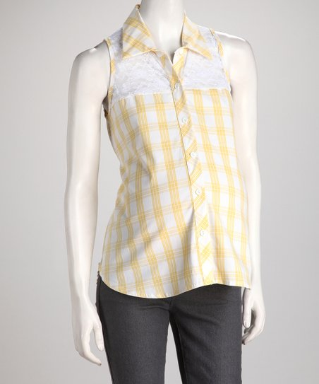 QT Yellow Plaid Sleeveless Maternity Button-Up