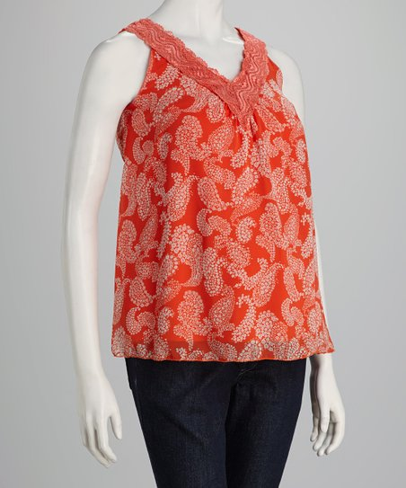 QT Orange Lace Maternity Sleeveless Top
