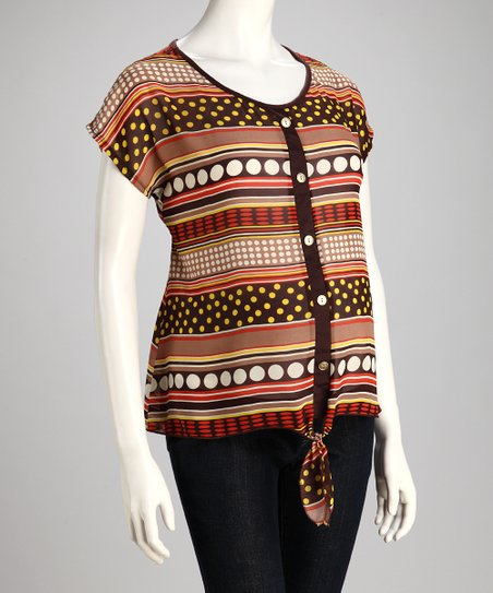 Brown Maternity Button-Up Top - Women