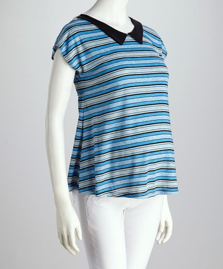 QT Blue Stripe Maternity Top