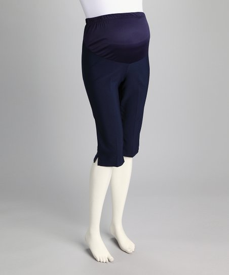 QT Navy Over-Belly Maternity Bermuda Shorts