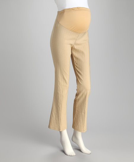 Khaki Stripe Over-Belly Maternity Pants