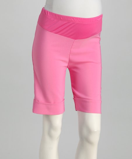 QT Pink Cuffed Mid-Belly Maternity Shorts