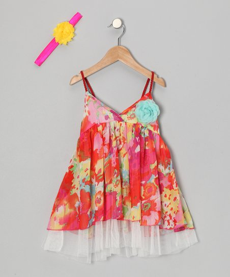 Red Floral Spring Halter Dress & Headband - Toddler & Girls