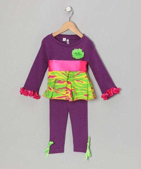 Purple & Lime Zebra Tunic & Leggings - Infant, Toddler & Girls