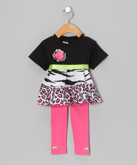 Black & Pink Safari Tunic & Leggings - Infant, Toddler & Girls