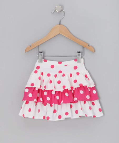 Pink Polka Dot Tiered Ruffle Skirt - Girls