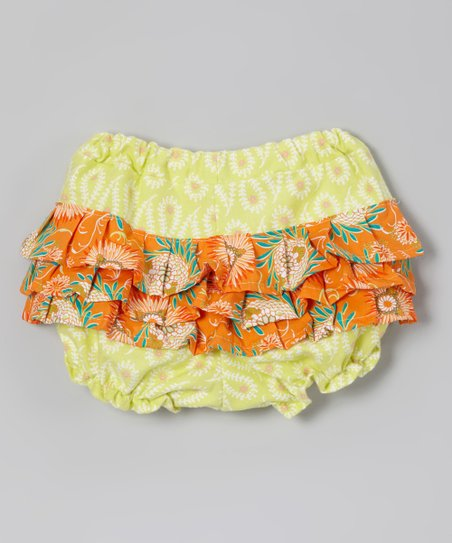 Green & Orange Springtime Diaper Cover