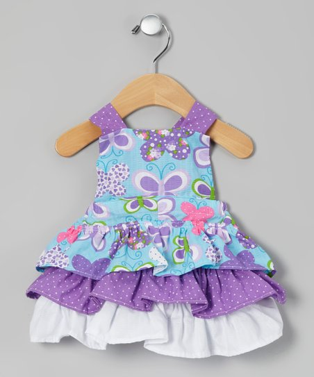 Purple Butterfly Seersucker Dress - Infant