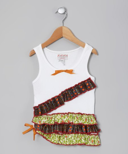 White Posie Ruffle Tank - Toddler & Girls
