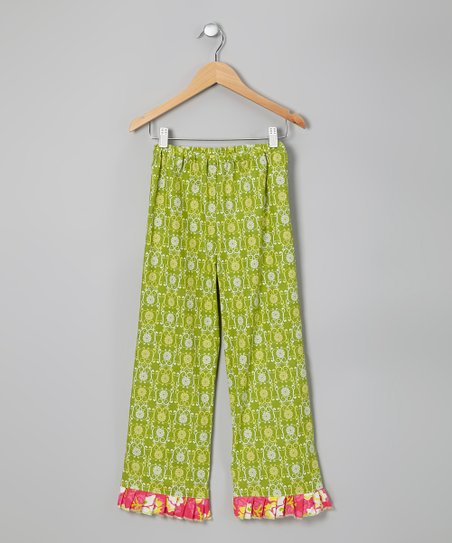 Green & Hot Pink Lou Lou Pants - Toddler & Girls