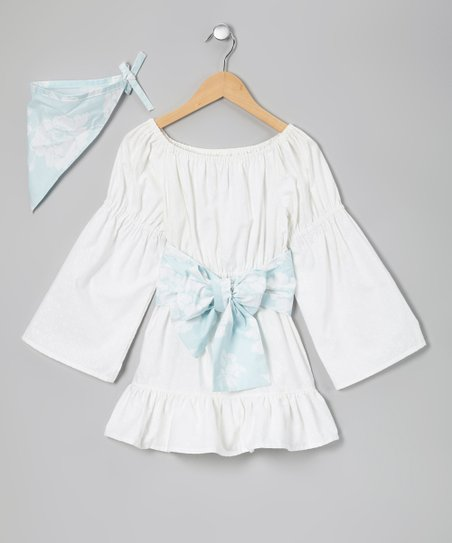 White & Blue Boho Tunic & Scarf - Toddler & Girls