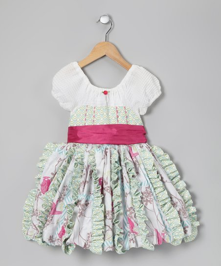 White & Pink Bella Bubble Dress - Toddler & Girls