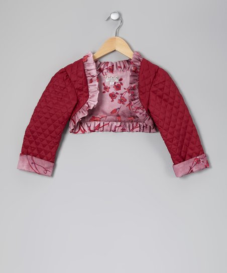 Burgundy Quilted Satin Jacket - Toddler & Girls