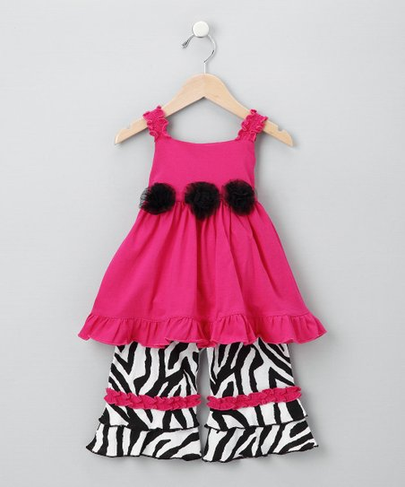 Lisa Mirabelli Fuchsia Zebra Tunic & Pants - Toddler & Girls