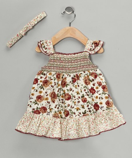 Brown Floral Shirred Dress & Headband - Girls